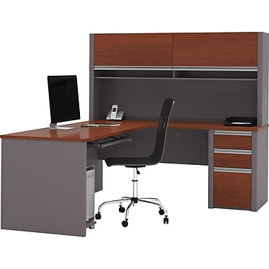 Bestar Connexion Collection L-Shape Desk with Hutch & Pedestal, Bordeaux & Slate