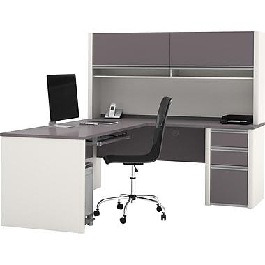 Bestar Connexion Collection L-Shape Desk With Hutch & Pedestal, Sandstone & Slate