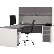 Bestar Connexion Collection L-Shape Desk With Hutch & Pedestal, Sandstone & Slate