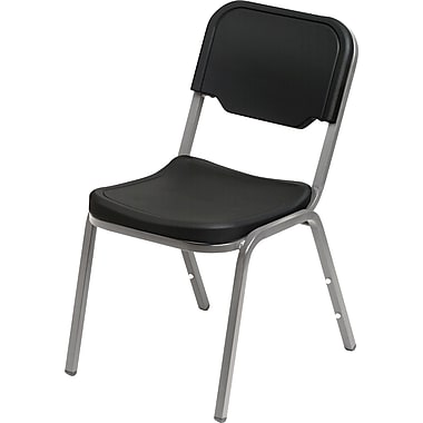 4 Pack Stack Chair, Black w/Silver Frame