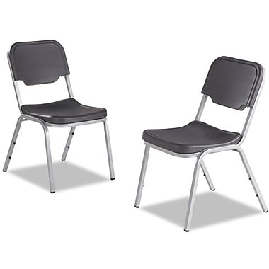 4 Pack Stack Chair, Charcoal w/Silver Frame