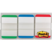 "Post-it® 1"" Durable Filing Tabs, Green/Blue/Red, 36 Tabs/Pack"