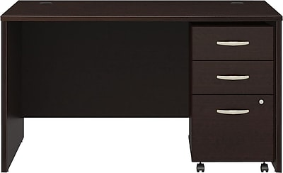 Bush Business Furniture Westfield 48W x 30D Office Desk with Mobile File Cabinet, Mocha Cherry, Installed (SRC048MRSUFA) 12316
