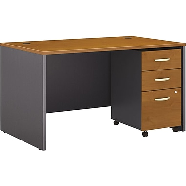Bush Business Westfield 48W Desk with Pre-Assembled 3Dwr Mobile Pedestal, Natural Cherry
