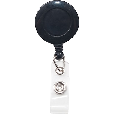 Swivel-Back Clip-On Retractable ID Reel with Badge Holder, Black, 12/PK
