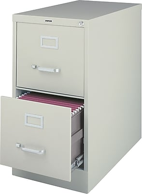 "Staples 2-Drawer Vertical File Cabinet, Locking, Letter, Gray, 25""D (25156D-CC)"