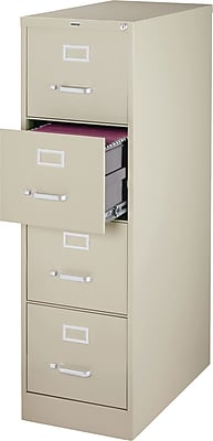 Staples 4-Drawer Vertical File Cabinet, Locking, Letter, Putty/Beige, 25