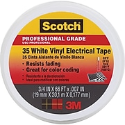 Scotch® Vinyl Electrical Coding Color Tape, White, 7 mil