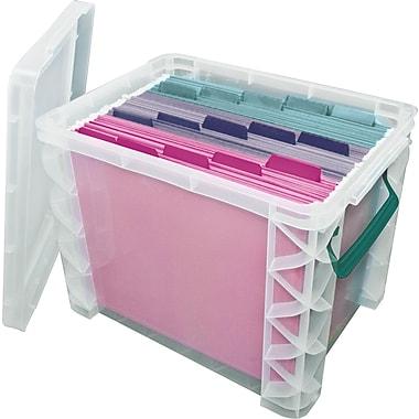 "Advantus Super Stacker File Box, Clear, 11.25"" H x 10.5"" W x 14.5"" L"