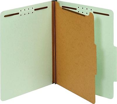 Globe-Weis® Classification Folders, 1 Part, Embedded Fastener, Light Green, Legal, 10/Box