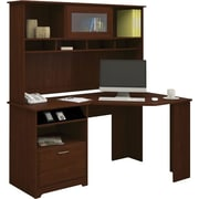 Bush Furniture Cabot Corner Desk with Hutch, Harvest Cherry