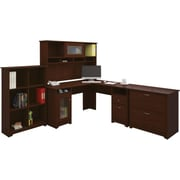 Bush Furniture Cabot L-Desk with Hutch, 6 Cube Bookcase and Lateral File, Harvest Cherry