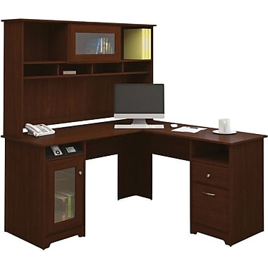 Bush Furniture Cabot L Desk with Hutch Harvest Cherry