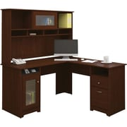 Bush Furniture Cabot L-Desk with Hutch, Harvest Cherry