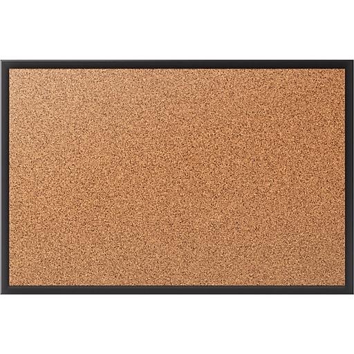 Staples Standard Durable Cork Bulletin Board, Black Aluminum Frame, 3'x 2' (28674-CC)
