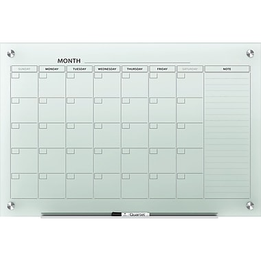 Quartet® Infinity™ Glass Magnetic Calendar Board, 3' x 2', White Surface, Frameless (GC3624F)