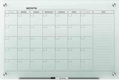 Quartet Infinity™ Glass Magnetic Calendar Board, White, Frameless, 24