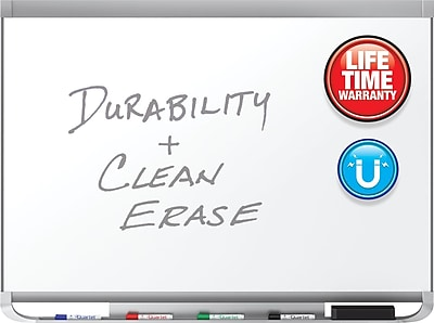 Quartet® Prestige® 2 DuraMax® Porcelain Magnetic Whiteboard, Graphite Finish Frame, 8'W x 4'H (P558GP2)