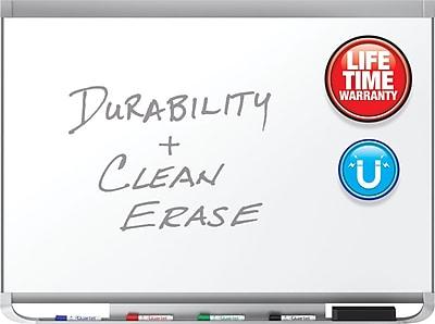 Quartet® Prestige® 2 DuraMax® Porcelain Magnetic Whiteboard, Graphite Finish Frame, 4'W x 3'H (P554GP2)