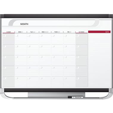 Quartet Prestige® 2 Magnetic Monthly Calendar Board, Total Erase®, Black/Gray Graphite Frame, 4' x 3'