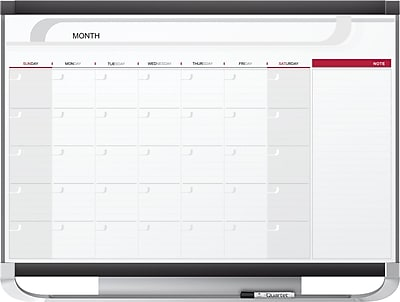 Quartet Prestige® 2 Magnetic Monthly Calendar Board, Total Erase®, Black/Gray Graphite Frame, 4' x 3'