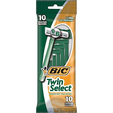 BIC® Twin Select® Men's Sensitive Skin Shavers, Green, 10/Pack