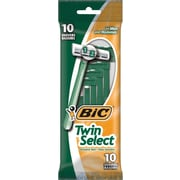 BIC Twin Select Men's Sensitive Skin Shavers, Green, 10/Pack