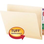 "Tuff Laminated End Tab Folder, 1/2 Cut Tab, 3/4"" Exp, Manila, Letter, , 100/BX"
