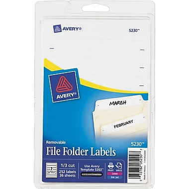 Avery®: Removable File Folder Labels 5230, White, 1/3 Cut, Pack of 252