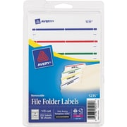Avery(R) Removable File Folder Labels 5235, Assorted, 1/3 Cut, Pack of 252