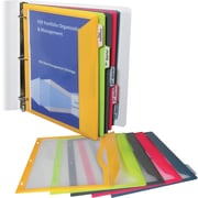 Binder Pocket With Write-On Index Tabs, 8-1/2 x 11, Assorted, 5/Set (CLI06650)
