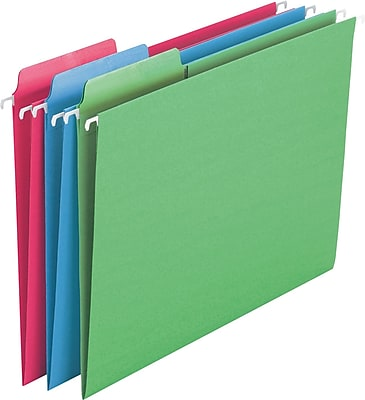 Smead Erasable FasTab 3-Tab Colored Hanging File Folders, Letter, Assorted, 18/Bx (64031)
