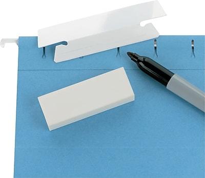 Erasable Hanging Folder Tabs, 1/3 Tab, 3 1/2 Inch, White, 25/PK
