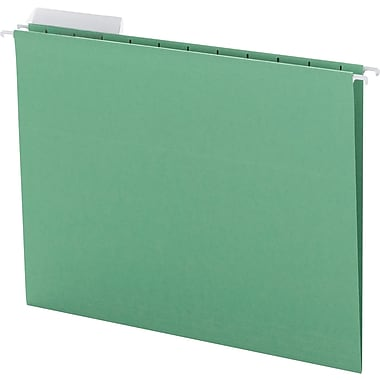 Color Hanging Folders with 1/3-Cut Tabs, 11 Pt. Stock, Green, 25/BX