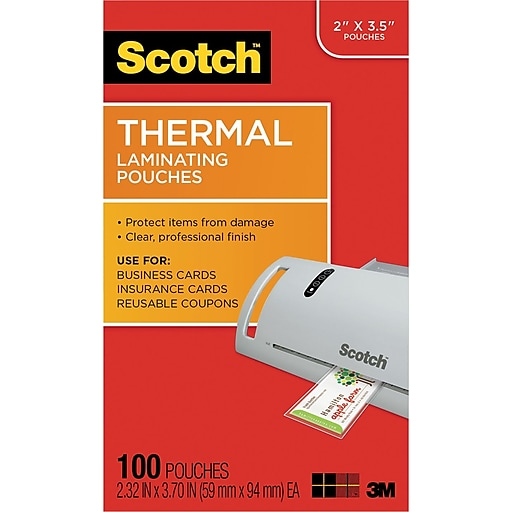 Business Card Size Thermal Laminating Pouches 5 Mil 3 3 4 X 2 3 8 100 Pack At Staples