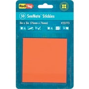 Redi-Tag® Sticky Notes, 3 x 3, Neon Orange, 50-Sheet Pad