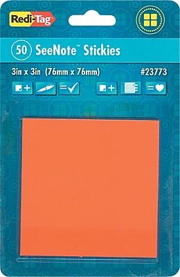 Redi-Tag® Sticky Notes, 3 x 3, Neon Orange, 50-Sheet Pad