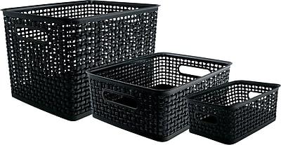 Advantus Plastic Weave Bins, Black, 3/Pack 2619993