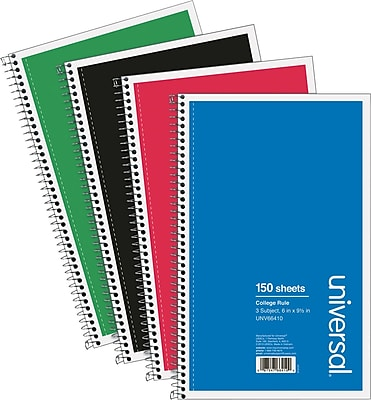 Wirebound Notebook, 6 x 9-1/2, College Ruled, 150 Sheets, Assorted Color Cover