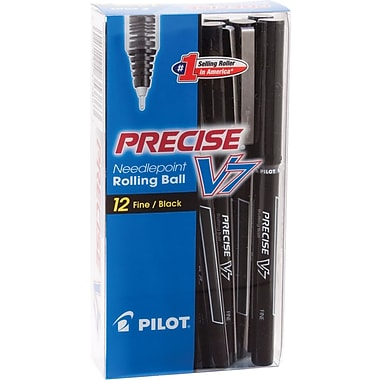 Pilot Precise V7 Premium Rolling Ball Stick Pens, Fine Point, Black, 12/Pack (35346)