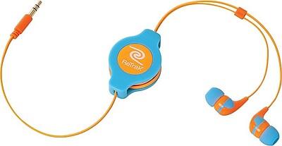 ReTrak Retractable Neon Earbuds, Blue/Orange