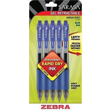 Zebra® Sarasa® Retractable Gel-Ink Pens, Medium Point, Blue, 5/Pack