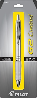Pilot G2 Limited Retractable Gel Ink Pen, Fine Point, Silver Barrel, Black Ink, 1/Pack (31535)