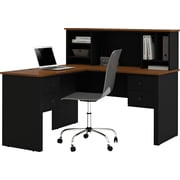 Bestar Somerville L-Shape desk with hutch, Black & Tuscany Brown