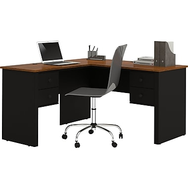 Bestar - Bureau en L de la collection Somerville, noir et brun Toscane