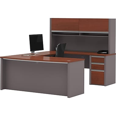 Bestar Connexion U-shaped With Hutch Workstation Kit, Bordeaux & Slate