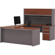 Bestar Connexion U-shaped With Hutch Workstation Kit, Bordeaux & Slate (93879-39)