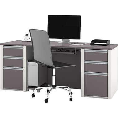 Bestar Connexion Collection Double Pedestal Executive Desk, Sandstone & Slate