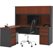 Bestar Prestige + Collection L-Shape Desk With Hutch & Pedestal, Bordeaux & Graphite