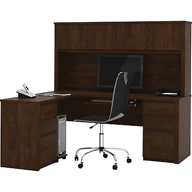 Bestar Prestige + Collection L-Shape Desk With Hutch & Pedestal, Chocolate